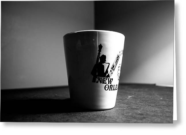 New Orleans Coffee Cup Greeting Card by VJ Bobnicoff
