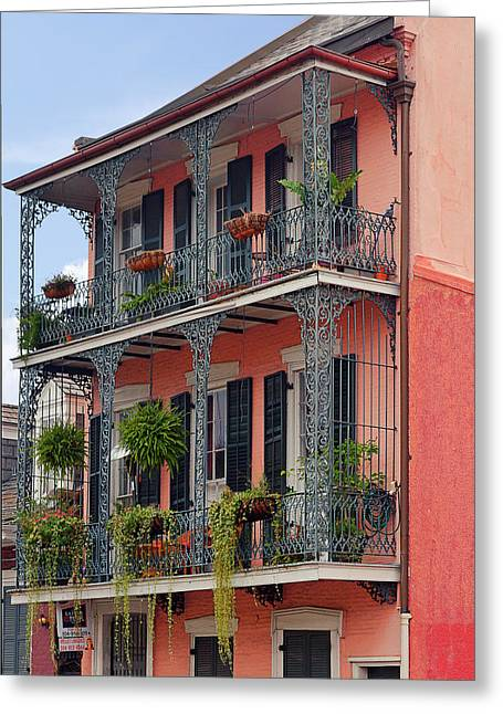 Vieux Carre Greeting Cards - New Orleans colorful homes Greeting Card by Christine Till