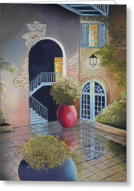 Brick Wall Pastels Greeting Cards - New Orleans Courtyard Greeting Card by Daniel Barrilleaux