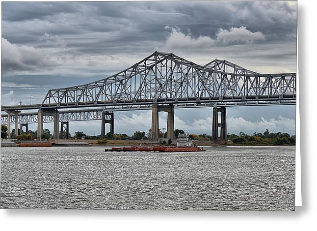 New Orleans Crescent City Connection Bridge Greeting Card by Christine Till