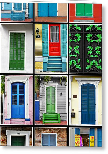 Collage Greeting Cards - New Orleans Doors Greeting Card by Christine Till