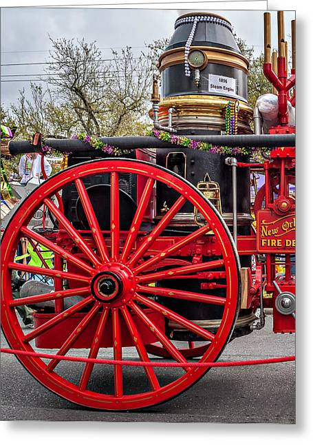 Emergency Vehicle Greeting Cards - New Orleans Fire Department 1896 Greeting Card by Steve Harrington