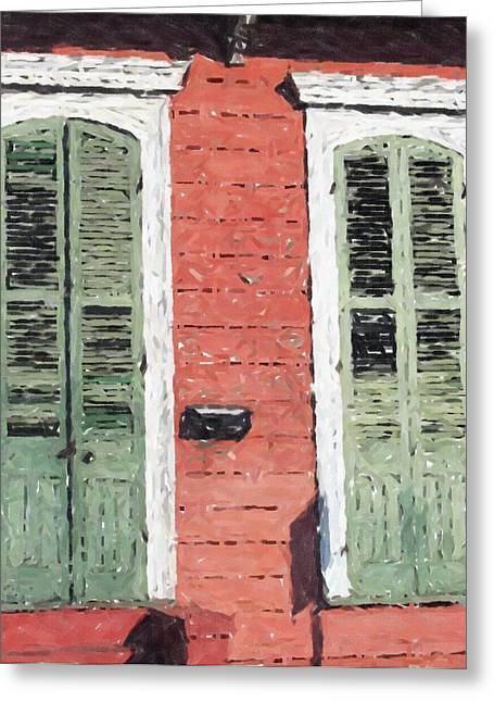 French Doors Pastels Greeting Cards - New Orleans French Quarter Shutters Doors Colors Louisiana Artwork Greeting Card by Olde Time  Mercantile