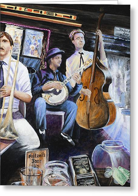 Lounge Paintings Greeting Cards - New Orleans Fritzels Jazz 1 Greeting Card by Paula Noblitt