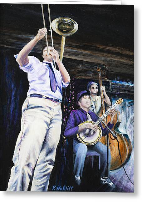Lounge Paintings Greeting Cards - New Orleans Fritzels Jazz 2 Greeting Card by Paula Noblitt
