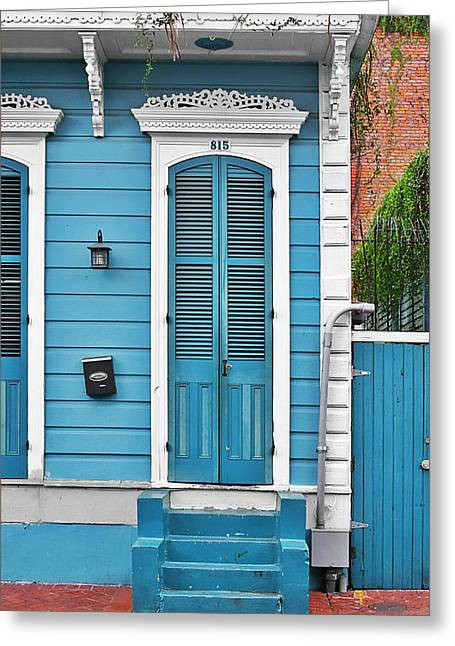 French Quarter Home Greeting Cards - New Orleans Front Door Greeting Card by Christine Till