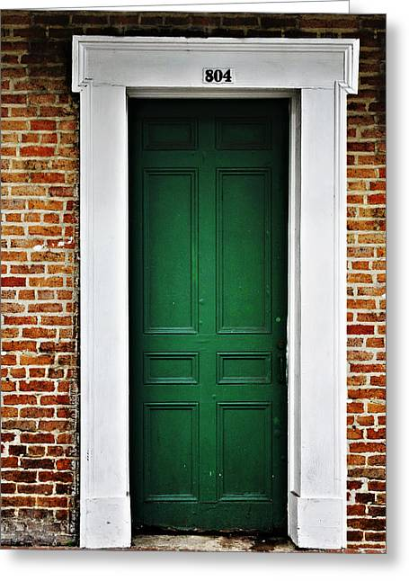 Old Doors Greeting Cards - New Orleans Green Door Greeting Card by Christine Till