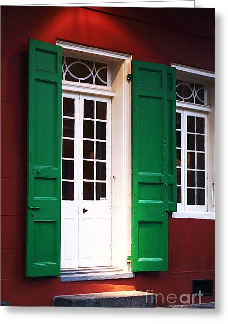 Red Buildings Greeting Cards - New Orleans Green Greeting Card by John Rizzuto