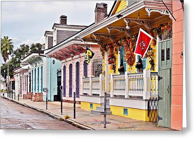 Quarter Greeting Cards - New Orleans Happy Houses Greeting Card by Christine Till