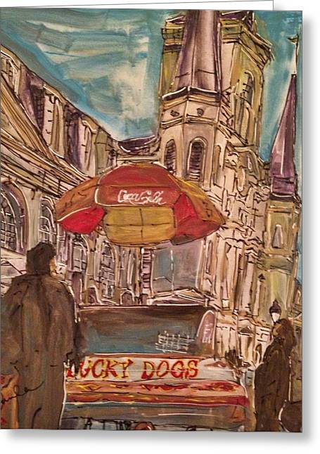 Lucky Dogs Greeting Cards - New Orleans in The Square Greeting Card by Paula   Baker