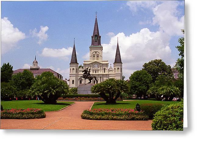 Green Hat Art Greeting Cards - New Orleans - Jackson Square 2 Greeting Card by Frank Romeo