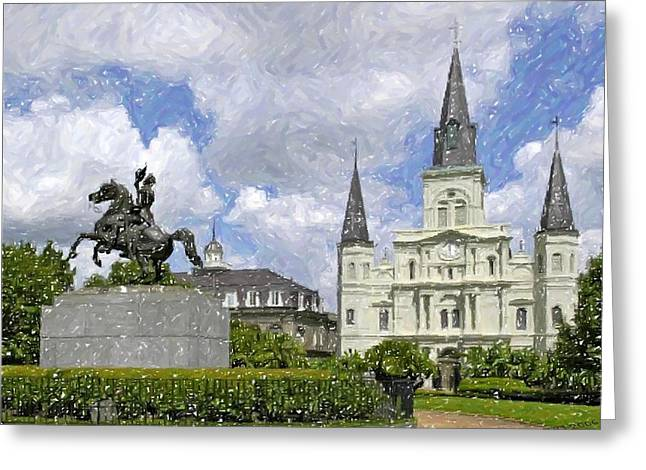 Jackson Pastels Greeting Cards - New Orleans Jackson Square Greeting Card by Olde Time  Mercantile