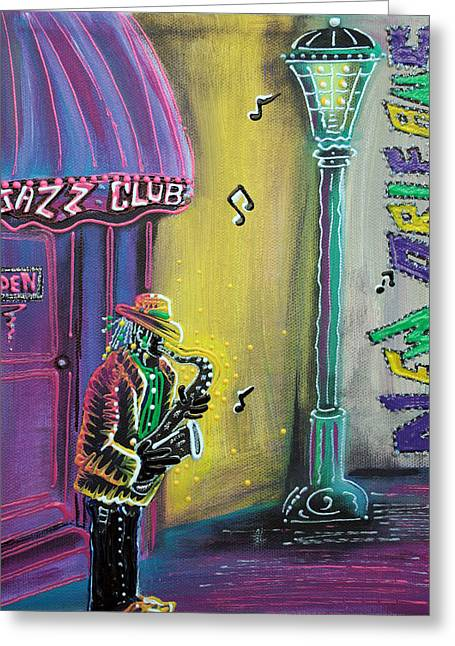 Mardi Gras Paintings Greeting Cards - New Orleans Jazz Fest Greeting Card by Laura Barbosa