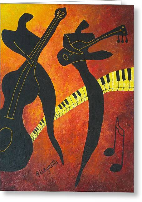 Allegretto Art Greeting Cards - New Orleans Jazz Greeting Card by Pamela Allegretto