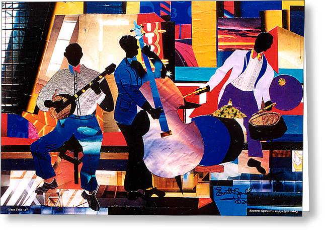 Coltrane Mixed Media Greeting Cards - New Orleans Jazz Trio A. - 2002 Greeting Card by Everett Spruill