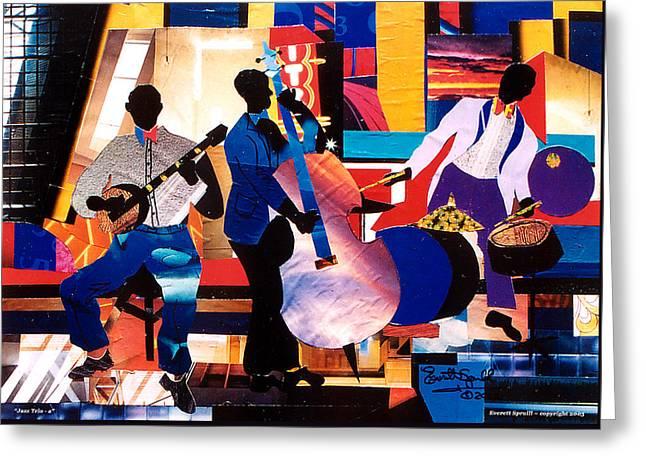 Everett Spruill Mixed Media Greeting Cards - New Orleans Jazz Trio A Greeting Card by Everett Spruill