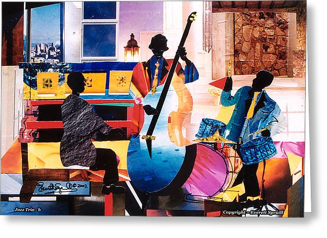 Coltrane Mixed Media Greeting Cards - New Orleans Jazz Trio B. - 2002 Greeting Card by Everett Spruill