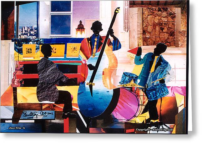 Everett Spruill Mixed Media Greeting Cards - New Orleans Jazz Trio B Greeting Card by Everett Spruill