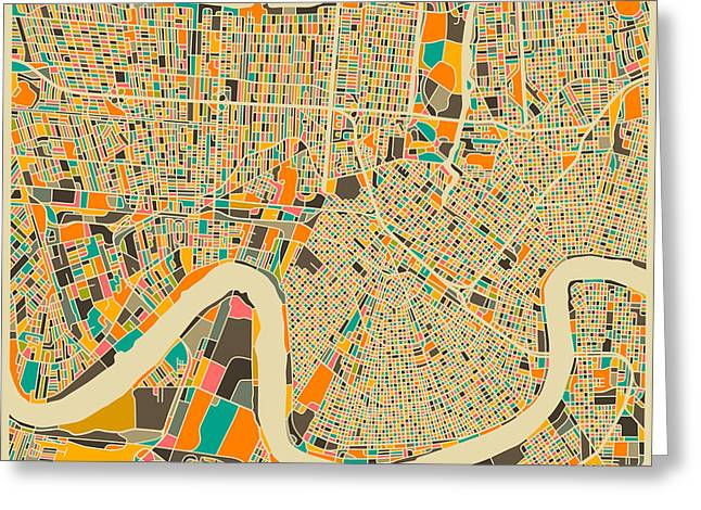 Modern Artist Greeting Cards - NEW ORLEANS map Greeting Card by Jazzberry Blue