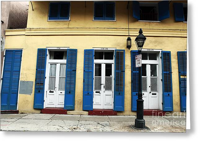 Blue Shutters Greeting Cards - New Orleans Greeting Card by John Rizzuto