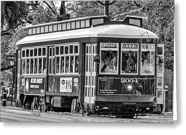 Canal Street Greeting Cards - New Orleans Journey bw Greeting Card by Steve Harrington