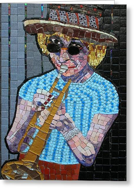 Celebrities Glass Art Greeting Cards - New Orleans Lady Greeting Card by Gila Rayberg