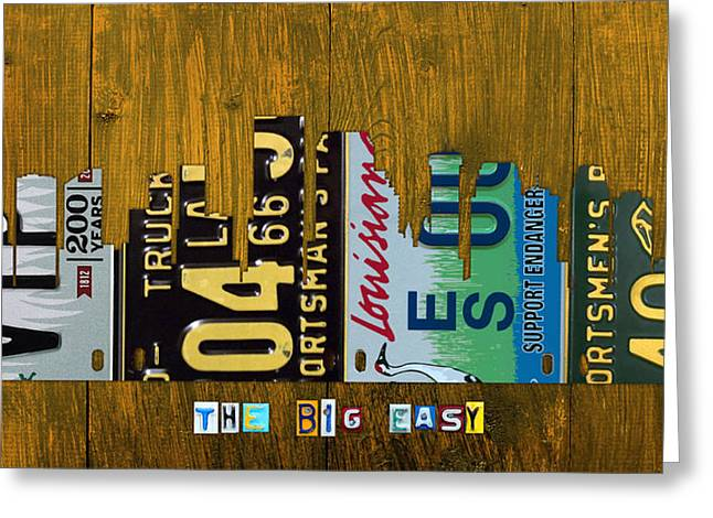 Louisiana Greeting Cards - New Orleans Louisiana City Skyline Vintage License Plate Art on Wood Greeting Card by Design Turnpike