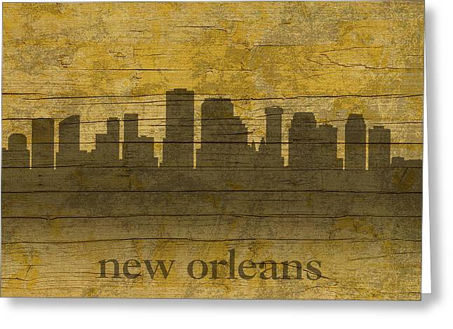 Peeling Greeting Cards - New Orleans Louisiana Skyline Silhouette Distressed on Worn Peeling Wood Greeting Card by Design Turnpike