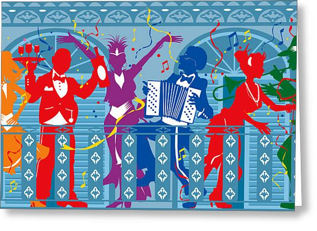 St Charles Avenue Greeting Cards - New Orleans Mardi Gras balcony 2  Greeting Card by Derrick Higgins