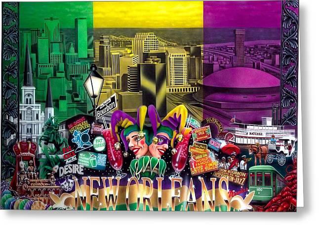 New Orleans Mardi Gras Greeting Card by Brett Sauce