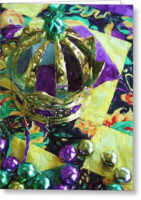 Louisiana Pastels Greeting Cards - New Orleans Mardi Gras Hat Beads Louisiana Artwork Greeting Card by Olde Time  Mercantile