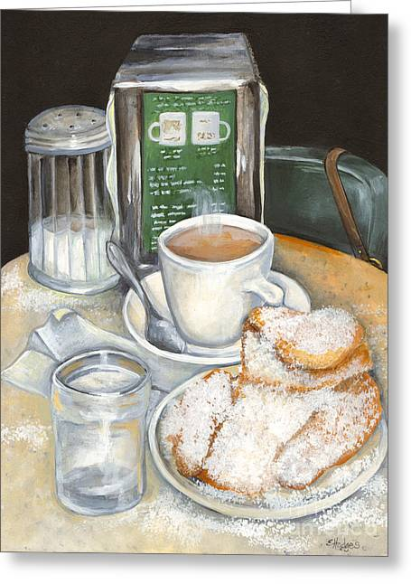 Table Greeting Cards - New Orleans Night Treat Greeting Card by Elaine Hodges