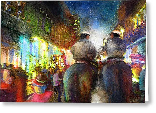 Mardis Greeting Cards - New Orleans Nights 01 Greeting Card by Miki De Goodaboom