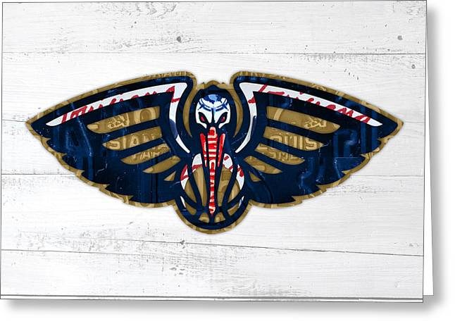 Basketball Team Greeting Cards - New Orleans Pelicans Basketball Team Retro Logo Vintage Recycled Louisiana License Plate Art Greeting Card by Design Turnpike