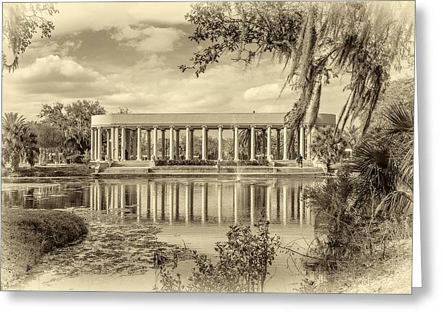 Metairie Greeting Cards - New Orleans Peristyle sepia Greeting Card by Steve Harrington