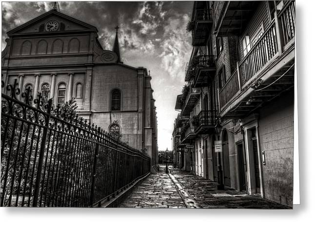 French Doors Greeting Cards - New Orleans Pirates Alley In Black and White Greeting Card by Greg and Chrystal Mimbs