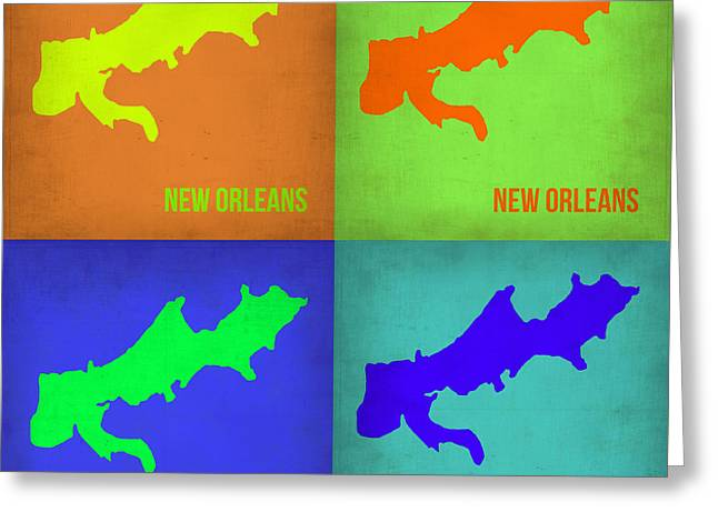 New Orleans Art Greeting Cards - New Orleans Pop Art Map 1 Greeting Card by Naxart Studio