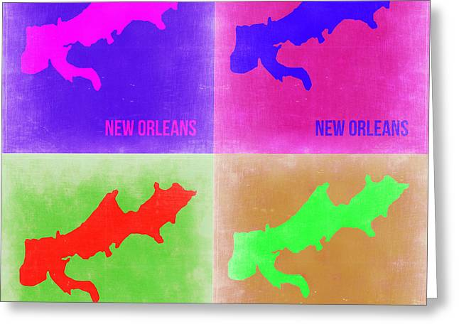 New Orleans Art Greeting Cards - New Orleans Pop Art Map 2 Greeting Card by Naxart Studio