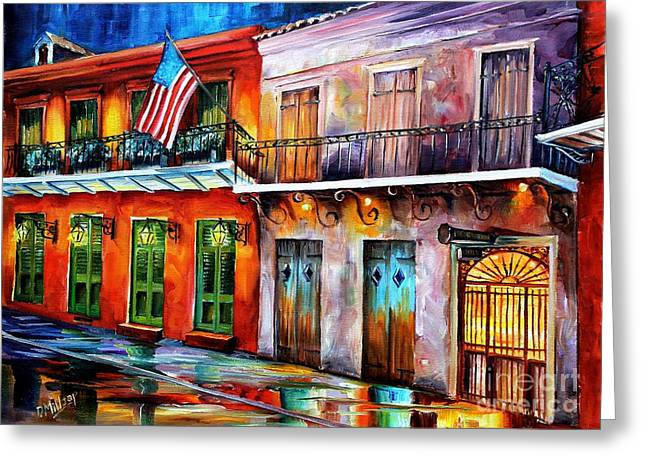 Night Lamp Greeting Cards - New Orleans Preservation Hall Greeting Card by Diane Millsap