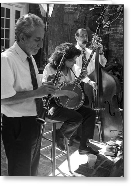 Tea Shirts Greeting Cards - New Orleans Restaruant Three-Piece Band Greeting Card by Michael Whitaker