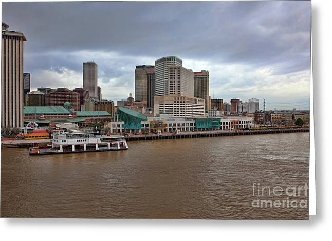 Riverwalk Greeting Cards - New Orleans Riverfront Greeting Card by Kay Pickens
