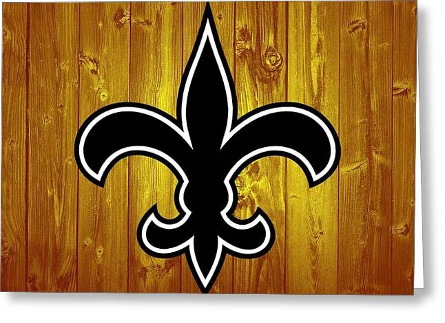 New Orleans Saints Barn Door Greeting Card by Dan Sproul