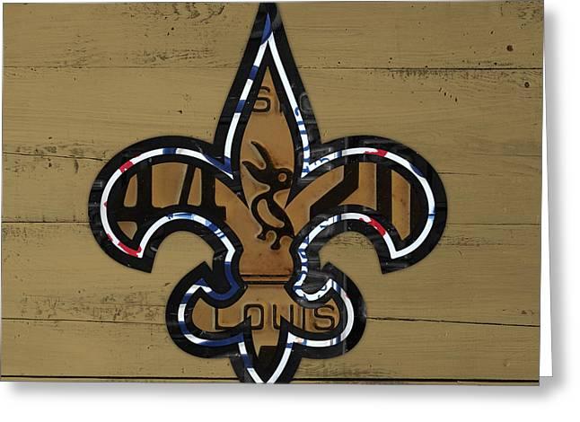 Louisiana Greeting Cards - New Orleans Saints Football Team Retro Logo Louisiana License Plate Art Greeting Card by Design Turnpike