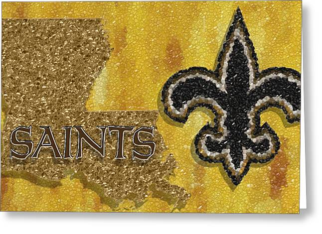Division Greeting Cards - New Orleans Saints Mosaic Greeting Card by Jack Zulli