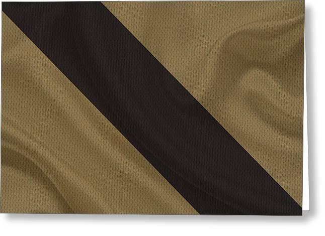 Saints Greeting Cards - New Orleans Saints Uniform Greeting Card by Joe Hamilton