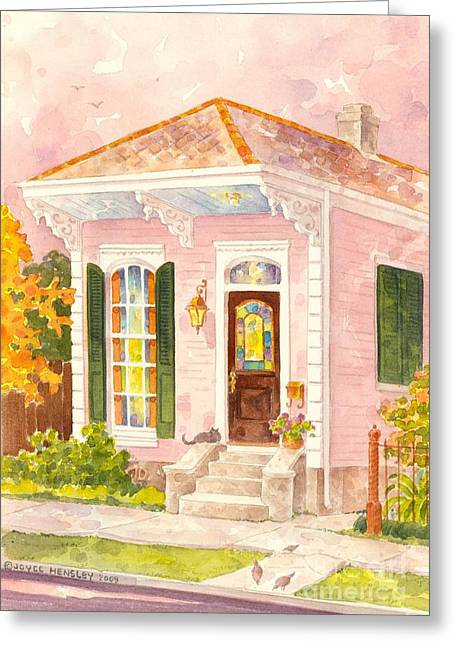 New Orleans Home Greeting Cards - New Orleans Shotgun House in Pink Greeting Card by Joyce Hensley