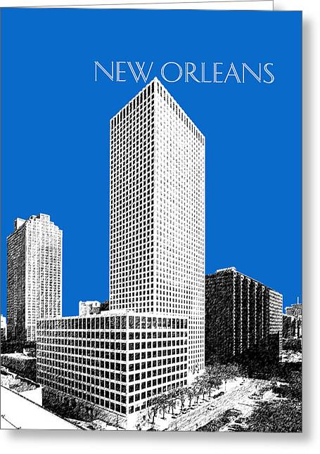New Orleans Skyline - Blue Greeting Card by DB Artist