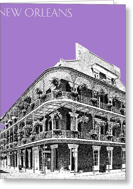 Violet Art Greeting Cards - New Orleans Skyline French Quarter - Violet  Greeting Card by DB Artist