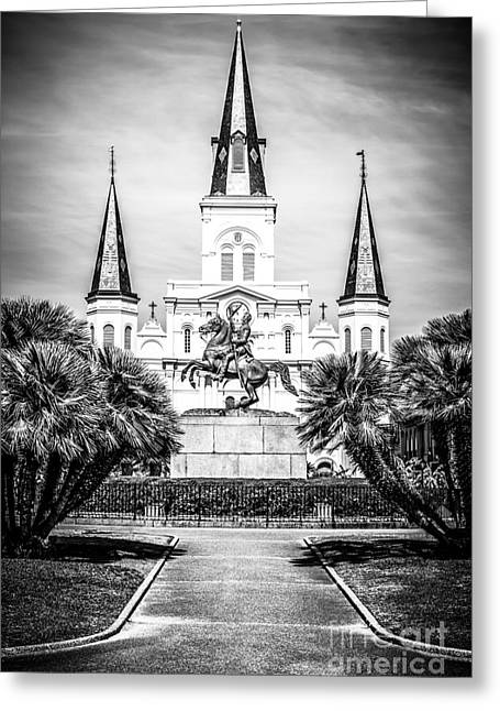 French Quarter Photographs Greeting Cards - New Orleans St. Louis Cathedral Black and White Picture Greeting Card by Paul Velgos