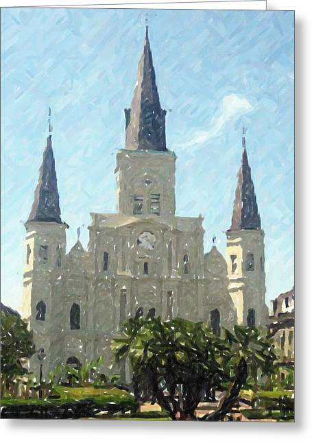 Louisiana Pastels Greeting Cards - New Orleans St. Louis Cathedral Louisiana Artwork Greeting Card by Olde Time  Mercantile
